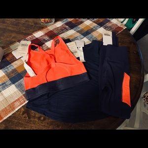 Fabletics Navy and Neon Orange Legging Set XS